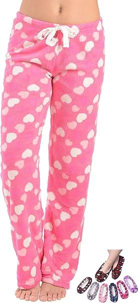 5923cb1b4509 Women s Pajama Plush Super-Soft Fleece Pajama Lounge Pants with Slipper  (Hot Pink