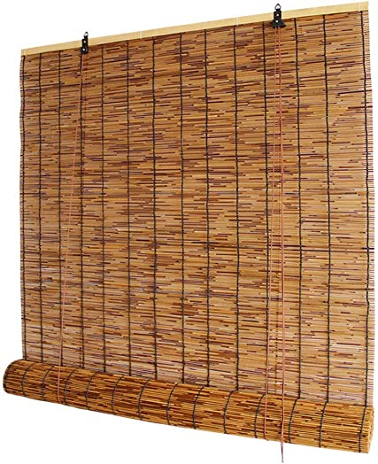 Koovin Bamboo Roll up Blinds-Window Shades-Reed Roller Curtain,Smooth Hollow Structure,Waterproof Anticorrosive,for Outdoor Patio Door,Customizable