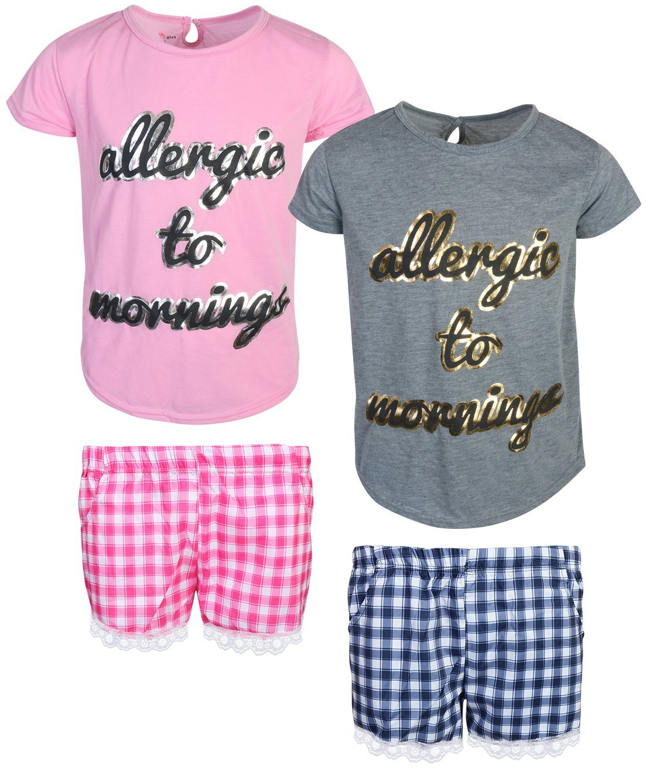 dELiA*s Girls Woven/Knit Short Pajama Set (2 Pack), Mornings, Size 10/12'