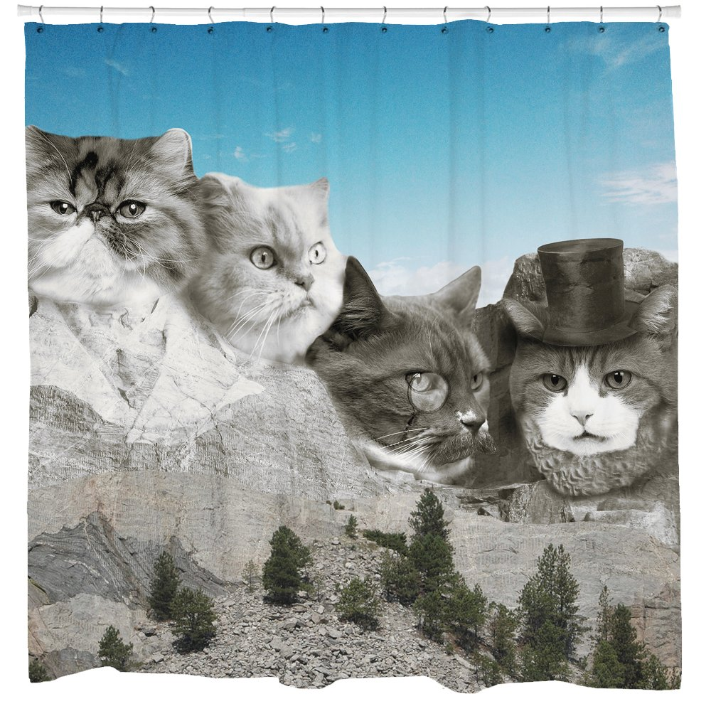 Cat Presidents Shower Curtain - Kitten Caricature - Fits Bathtub - Mount Rushmore - Mold Mildew Resistant - 72 x 72