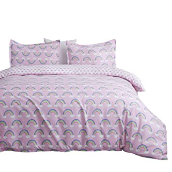 Double Brushed Ultra Microfiber Luxury Set by Where The Polka Dots Roam L 90in x W 92in Full//Queen Duvet Reversible Rainbow Unicorn /& Gingham Duvet Cover Set with 2 Pillowcases for Kids Bedding