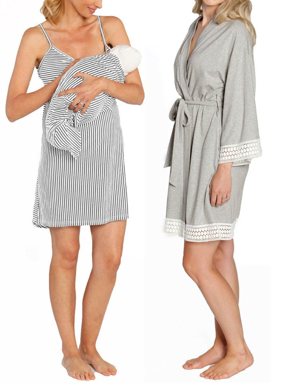 Angel Maternity - Hospital Pack Nursing Dress Hospital Robe + Receiving Baby Blanket Maternity and Nursing kit in Grey - L