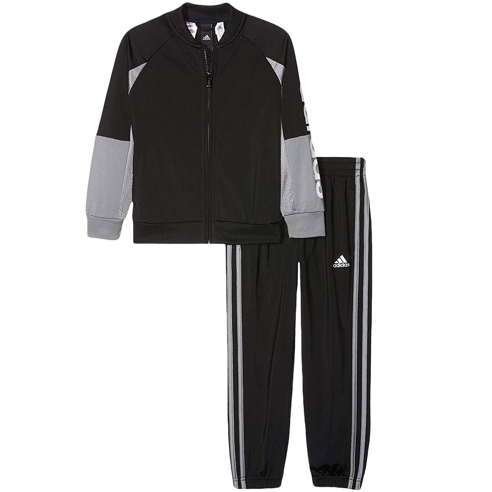 adidas Linear Kids Youth Full Zip Tracksuit Set Black/Grey - 11-12 Years
