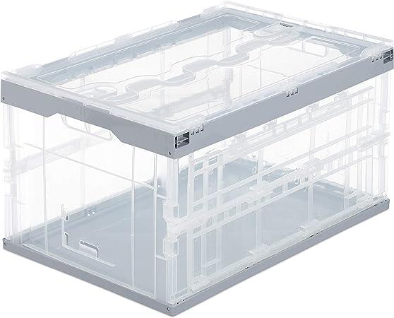 Relaxdays Caja de Almacenaje con Tapa Plegable, Plástico, Transparente-Gris, 31.5 x 59.5 x 39.5 cm: Amazon.es: Ropa y accesorios