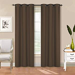 """Better Home Style 2 Piece Solid Color 100% Blackout Room Darkening 2 Panels Window Treatment Curtain Insulated Drapes for Any Window with Grommets M3784 (Brown/Coffee, 2 Panels 36"""" W X 84"""" L Each)"""