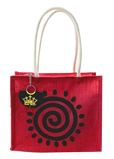 94f97d0026a Neska Moda Swachh Bharat Solid Red Sun Jute Tiffin Hand-held Bag ...