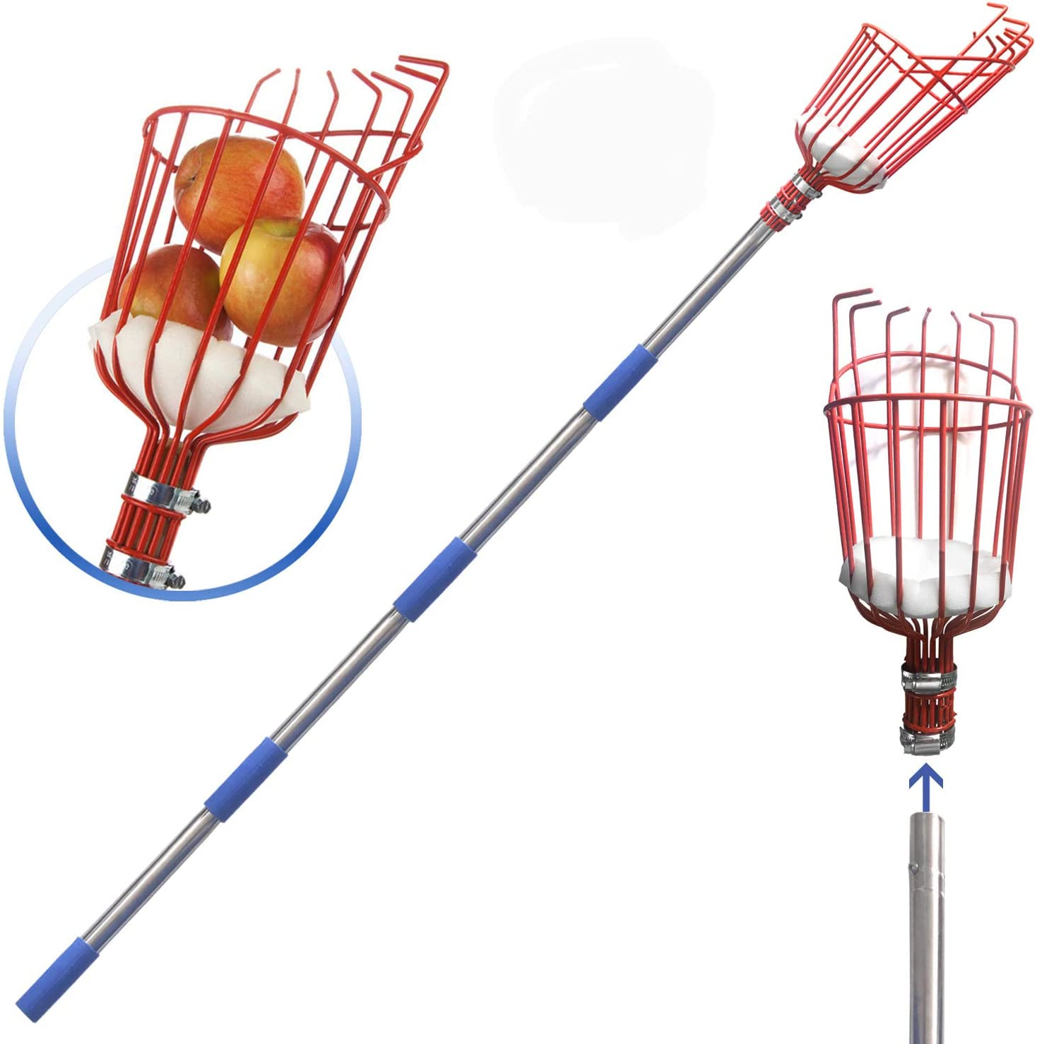 SANDEGOO Fruit Picker Tool, 10-Foot Fruit Picker with Light-Weight Aluminum Telescoping Pole, Fruit Picking Equipment for Getting Apple Oranges and Fruits Tree