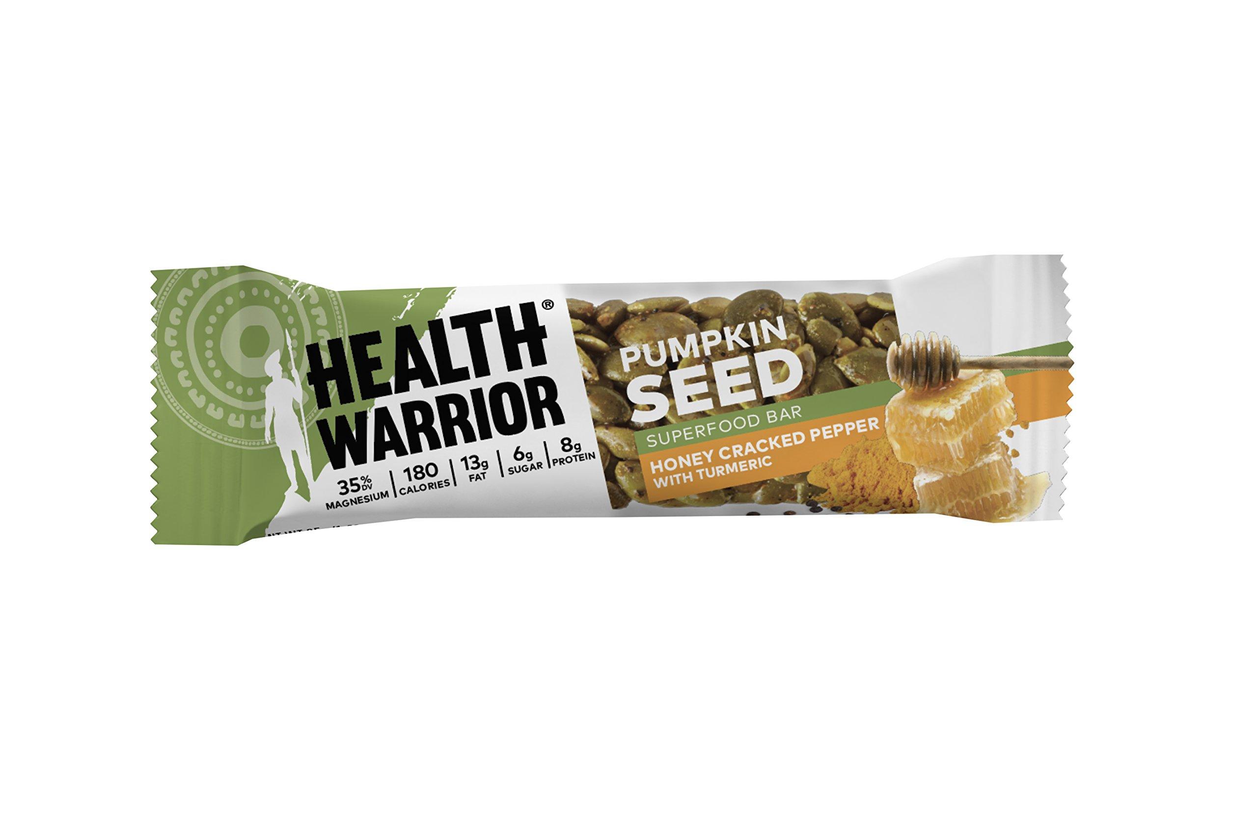 Health Warrior Pumpkin Seed Bars, Honey Cracked Pepper Turmeric, 12 Count, 14.8 Oz