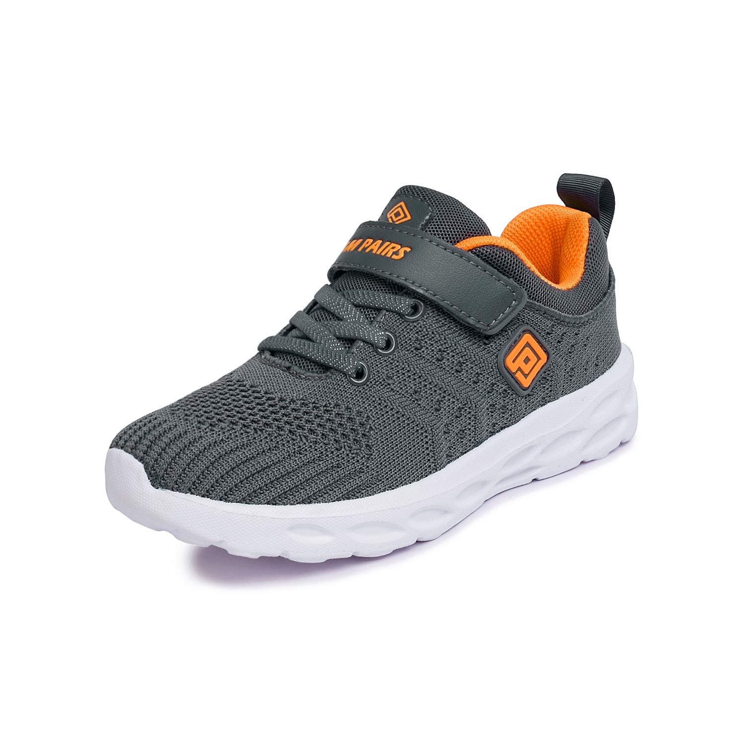 DREAM PAIRS Boys KD18001K Lightweight Breathable Running Athletic Sneakers Shoes Grey Orange, Size 5 M US Big Kid