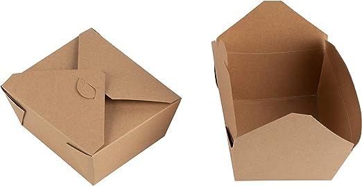 Caja de papel Kraft para llevar – 100 unidades de contenedores desechables para alimentos, cajas de almuerzo premontadas para restaurantes, servicio de comida rápido, picnic, fácil de cerrar, color marrón: Amazon.es: Hogar