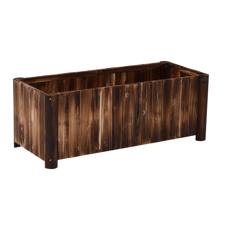 Outsunny 48'' x 20'' x 20'' Wooden Raised Rectangular Garden Bed Planter Box