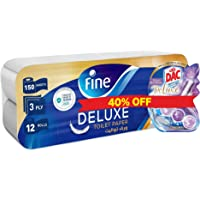 Fine Sterilized Toilet Paper, Deluxe, 150 sheets x 3 Ply, Pack of 12 + DAC Moonflower Rim block Toilet Cleaner