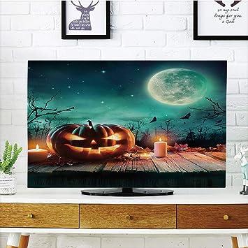 Cubierta de polvo para televisor LCD, personalizable, Halloween, calabaza tallada en la oscuridad, compatible con los árboles antiguos, temática de terror escéntrico, compatible con televisores de 47 pulgadas: Amazon.es: Electrónica