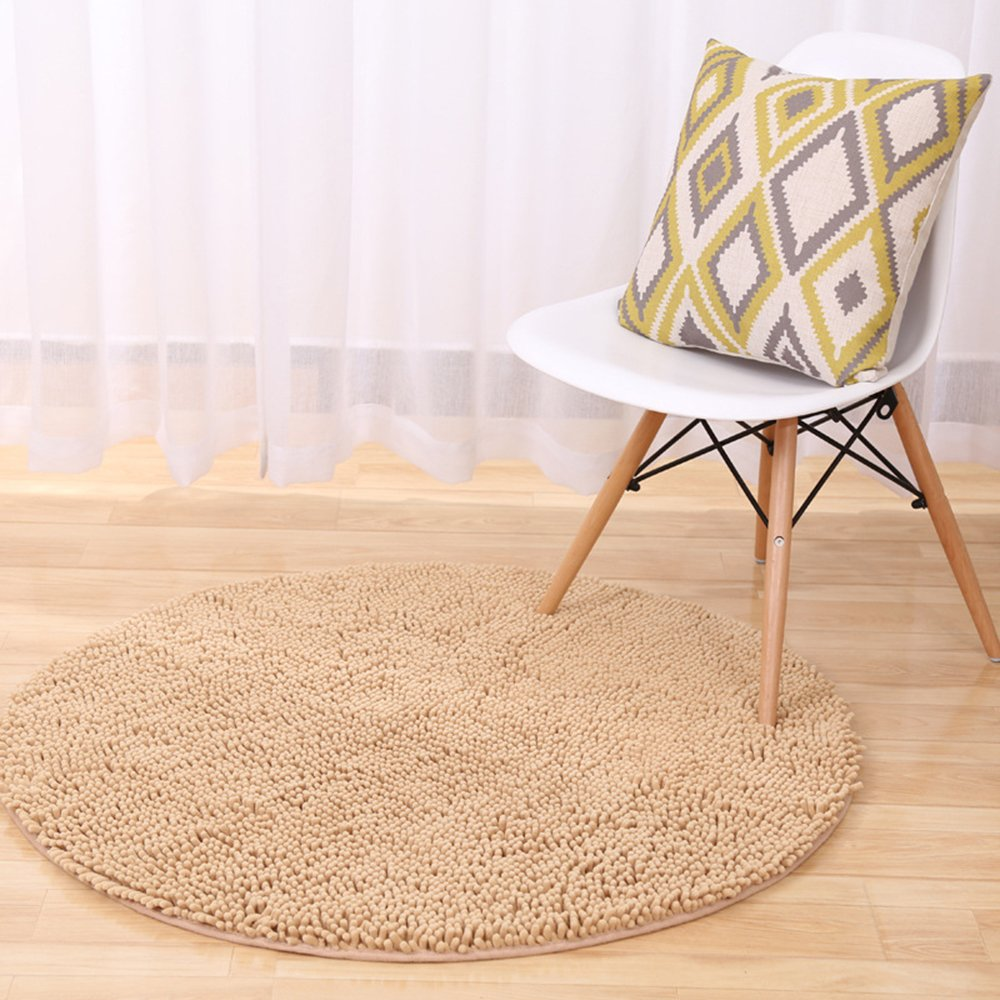 2 Ft Round Light Brown Non-slip Chenille Shag Bathroom Mat, Zeafeel Soft Absorbent Kitchen Floormat Bath Rug Carpet