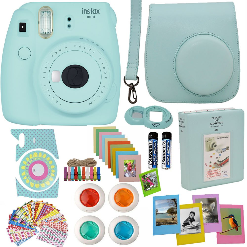 Fujifilm Instax Mini 9 Instant Camera Ice Blue + Blue Camera Case + Frames + Photo Album + 4 Color Filters and More Top Accessories Kit by Abesons
