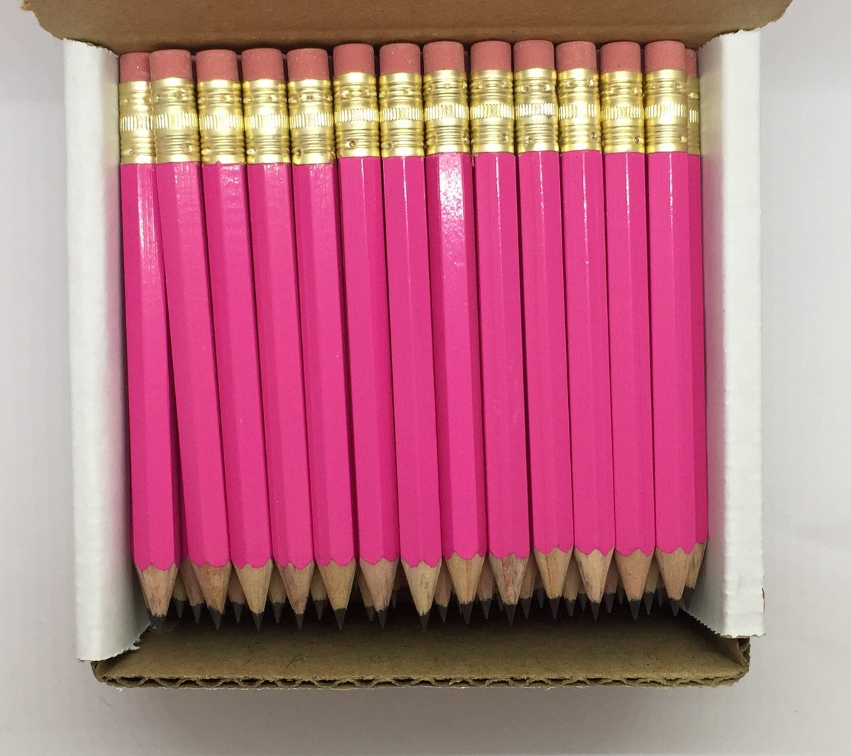 Half Pencils with Eraser - Golf, Classroom, Pew, Short, Mini - Hexagon, Sharpened, Non Toxic, 2 Pencil, Color - Deep Pink, (Box of 48) Golf Pocket Pencils by Express Pencils by Express Pencils