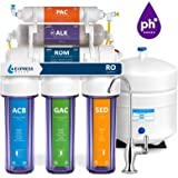 Express Water Alkaline Reverse Osmosis Filtration System – 10 Stage RO Mineralizing Water Purifier – Mineral, pH + Antioxidant – Under Sink Filter with Remineralization – 50 GDP, Clear Filter Housing