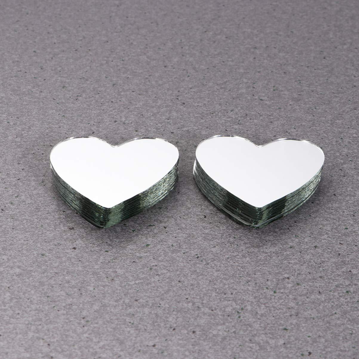 Healifty 20 Pezzi Lastre Specchianti in Vetro Mini Specchi Artigianali Tessere di Mosaico Adesivi a Forma di Cuore per Decorazioni Artigianali Fai da Te