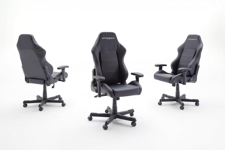 Robas Lund 62503SN6 DX Racer Chaise de Gaming-Fauteuil de bureau PU Noir-Noir 50 x 74 x 119 cm