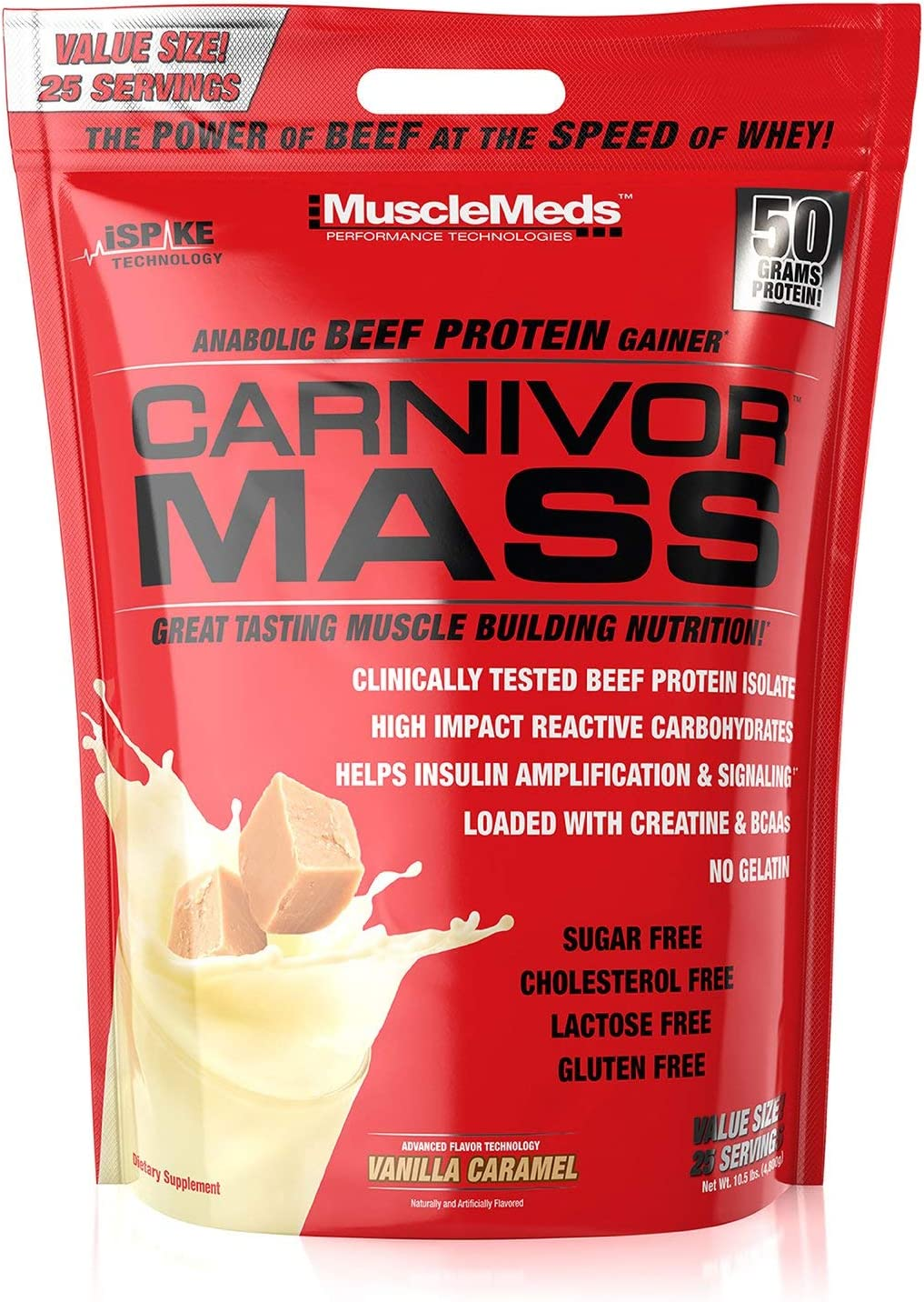 MuscleMeds Carnivor Mass Anabolic Beef Protein Gainer, Vanilla Caramel, 10.5 Pounds 71z9tUhMaeL