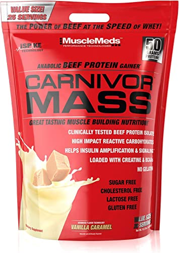 MuscleMeds Carnivor Mass Anabolic Beef Protein Gainer, Vanilla Caramel, 10.5 Pounds