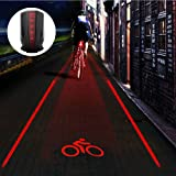 Crtch Bike Tail Light Ultra Bright Bicycle Laser Rear Light - Cycling Projector Safety Warning Lamp- Water Resistant- Back Flashlight for Mountain Bike- 2 Laser 5 LEDs