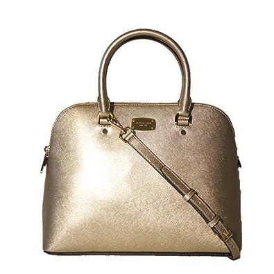 6685d0a3e786 Amazon.com: Michael Kors Cindy Large Dome Satchel MK Signature Shoulder Bag  Purse Handbag (Pale Gold): Shoes