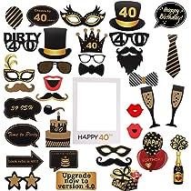 Amycute 40 años cumpleaños Photo Booth Props y marco photocall 40th cumpleaños, photocall 40 cumpleaños Accesorios para fiestas, decoraciones y ...
