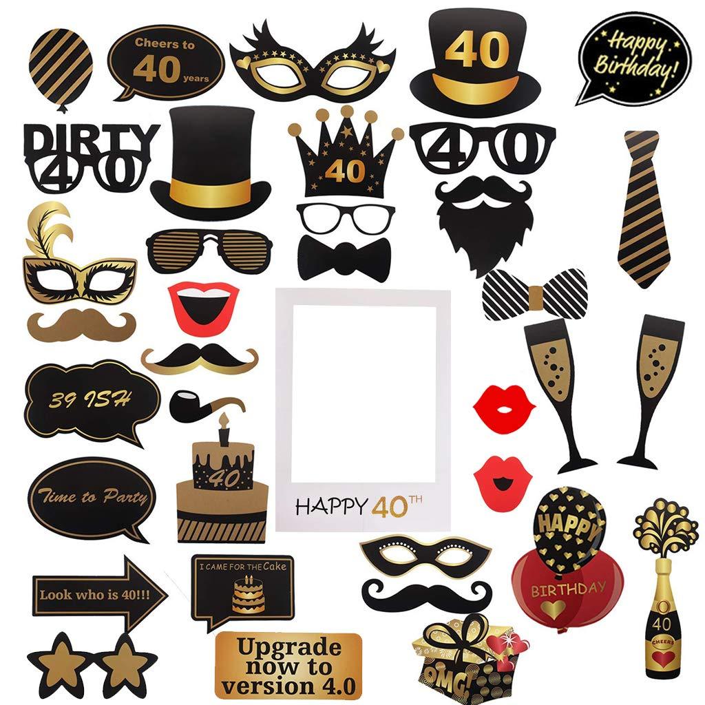 decoraciones y favores photocall 40 cumplea/ños Accesorios para fiestas Amycute 40 a/ños cumplea/ños Photo Booth Props y marco photocall 40th cumplea/ños