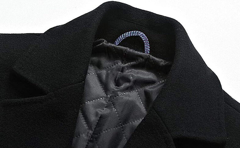 DAFREW factory Manteau en Laine pour Hommes, Veste d'hiver en Laine épaisse et Chaude, Coupe Moyenne et Longue Section Trench-Coat Brown