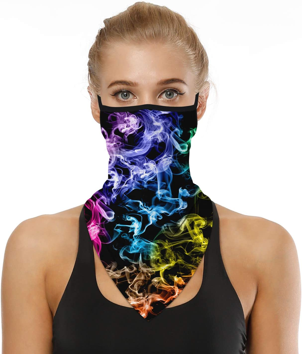 Timemory Unisex Seamless Triangle Face Rave Bandana Neck Gaiter Tube Cover Motorcycle Face Bandana for Women Men Face Scarf #Print6
