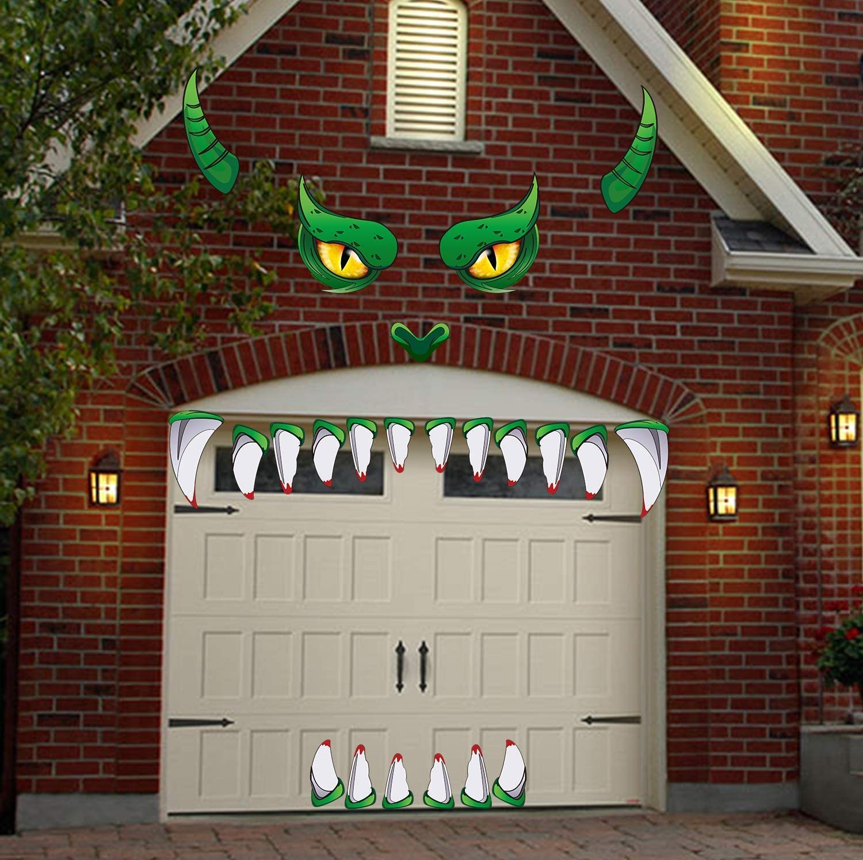 JoyTplay D/écoration F/ête Halloween pour Jardin,Autocollants de d/écalque de Visage de Monstre D/écorations de Voiture darcade de Porte de Garage de Halloween