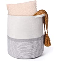 Xcellent Global Cotton Woven Storage Basket, Laundry Basket Storage Organizer with Handles for Toys Baby Nursery in…