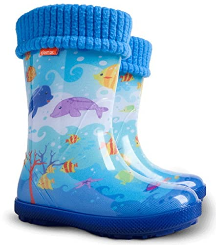 90a1a19221c3 Exclusive Boys Girls Kids Warm Fleece Lined Wellington Boots Wellies (3-4 UK (
