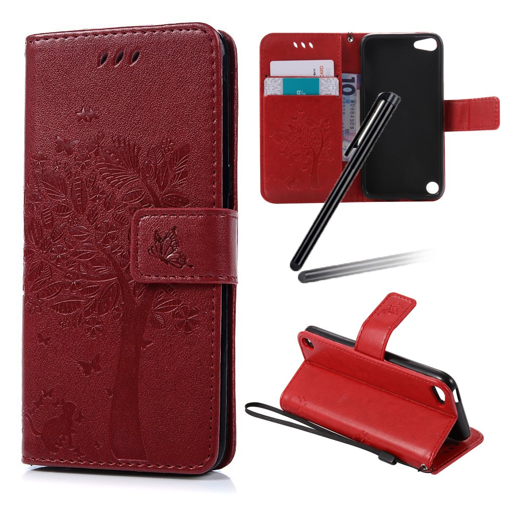 iPod Touch 6 Case, iPod Touch 5 Wallet Case, iPod Touch 6 Stand Case, SKYMARS Tree Cat Embossing Synthetic PU Leather Fold Wallet Pouch Case Wallet Flip Stand Credit Card ID Holders Protective Case Cover for iPod Touch 5th / iPod Touch 6th Generation (2015