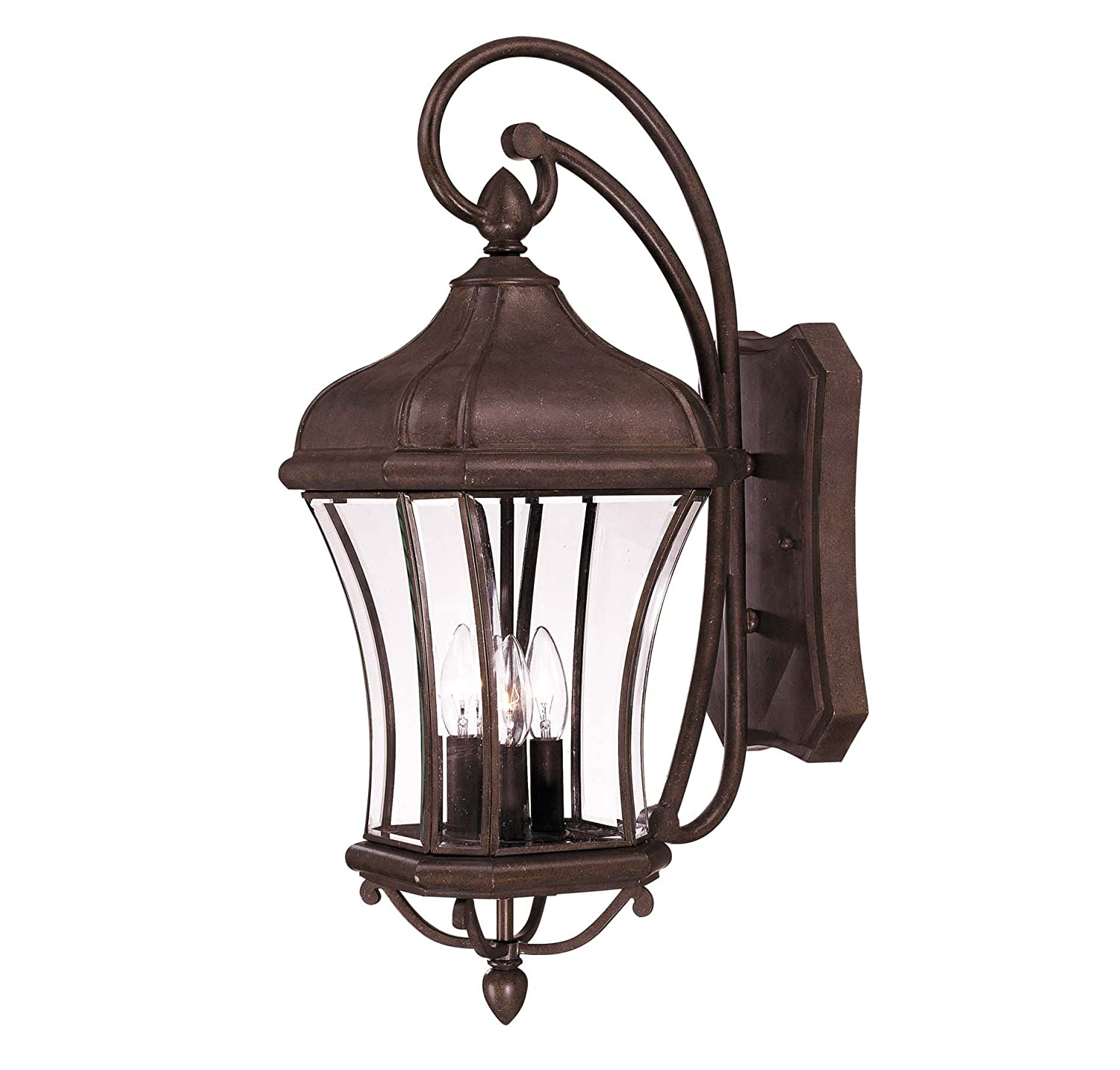 Savoy House 5-3802-40 Outdoor Sconce with Clear Beveled Shades, Walnut Patina Finish by Savoy House B0014HGYDU