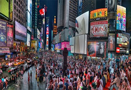 AOFOTO 5x3ft Times Square Background New York City Skyscraper Crowded People Night Billboard Street LED Signs