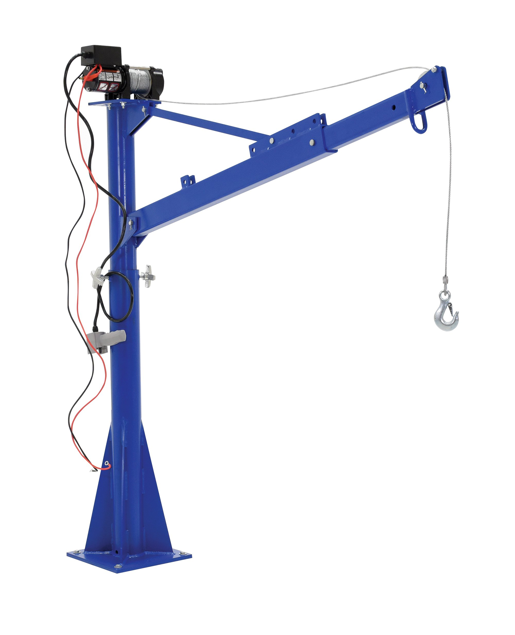 Vestil WTJ-E-15-3-DC 12V DC Power Lift Jib Crane, Steel, 1500 lb. Capacity, 46' Cable Length, 65-11/16'' Height