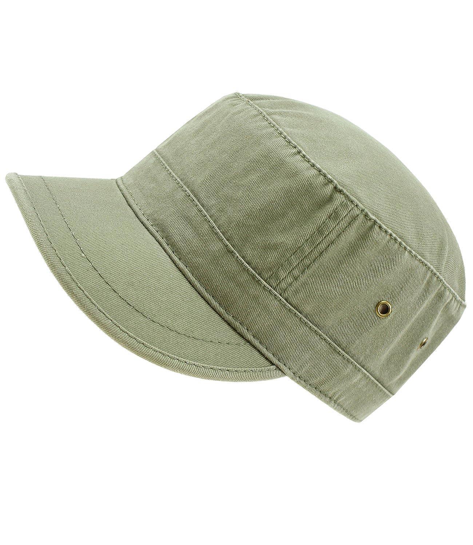 EveryHead Atlantis Herrenurbancap Urbancap Armycap GI Cap Cubacap Tellercap Schirmmütze Schildmütze Sommercap einfarbig für Männer (AL-306-S17-HE1) inkl Hutfibel