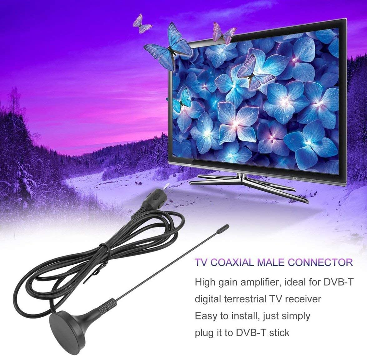 Portable 5dBi Digital DVB-T TV Free-View HDTV Aerial High Gain Amplifiers TV Indoor HDTV Strong Signal Boosters