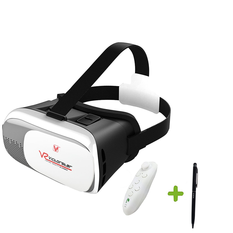 VICTORSTAR @ VR Caja II Auricular 3D Gafas + Remoto Controlador VR Realidad Virtual 3D Gafas de Vídeo 3D Juego Gafas El 4,7 a la de 6 Pulgadas IOS Teléfonos Inteligentes Android Celulares
