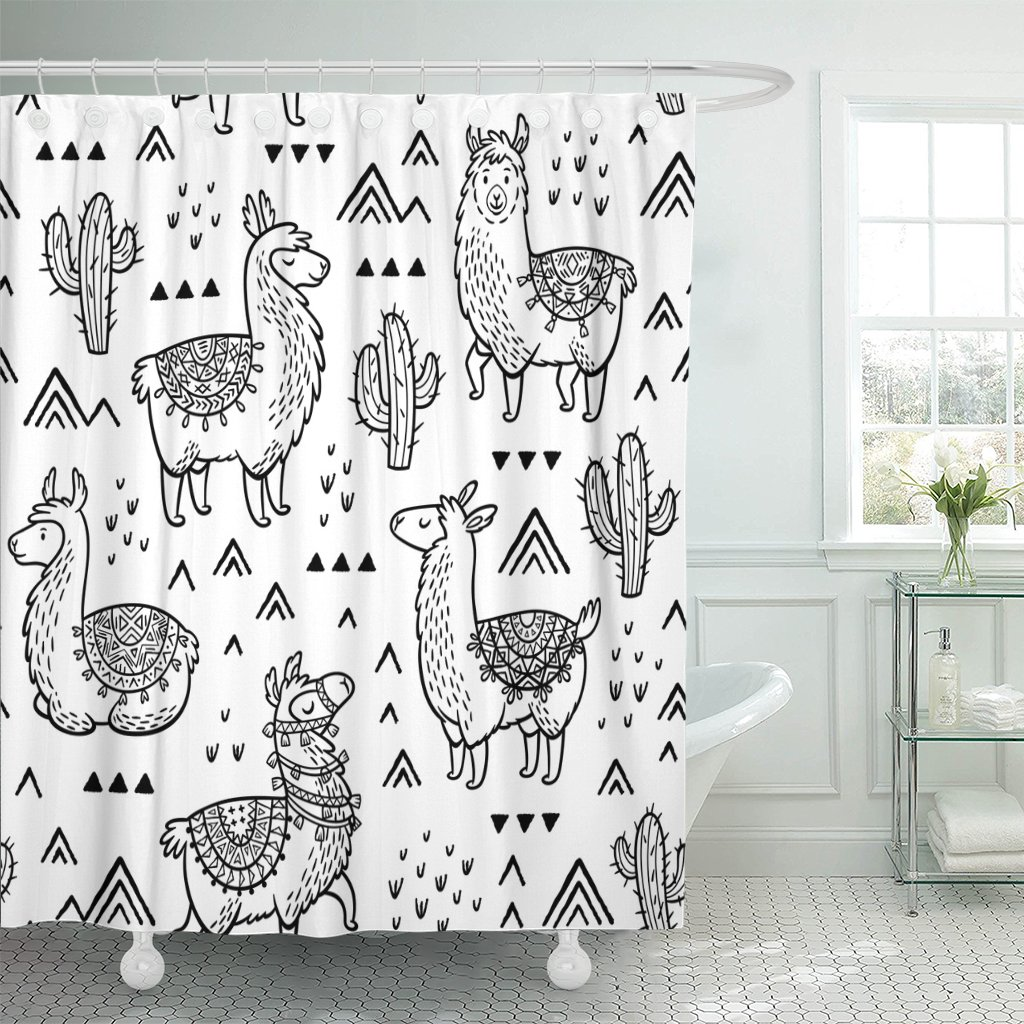 Emvency Shower Curtain Black America Outline Lamas Ink Coloring Book Colorful Doodle North Waterproof Polyester Fabric 72 x 72 inches Set with Hooks