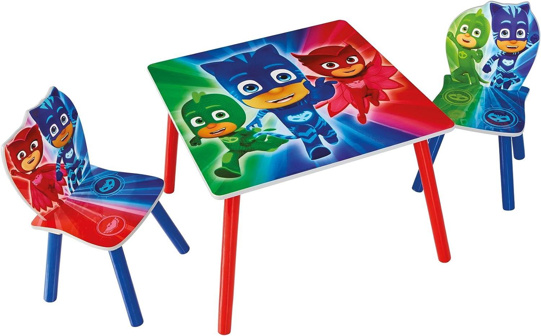 Hello Home PJ Masks Juego de Mesa y 2 sillas para niños, Madera, Multicolor, 63x63x52.5 cm