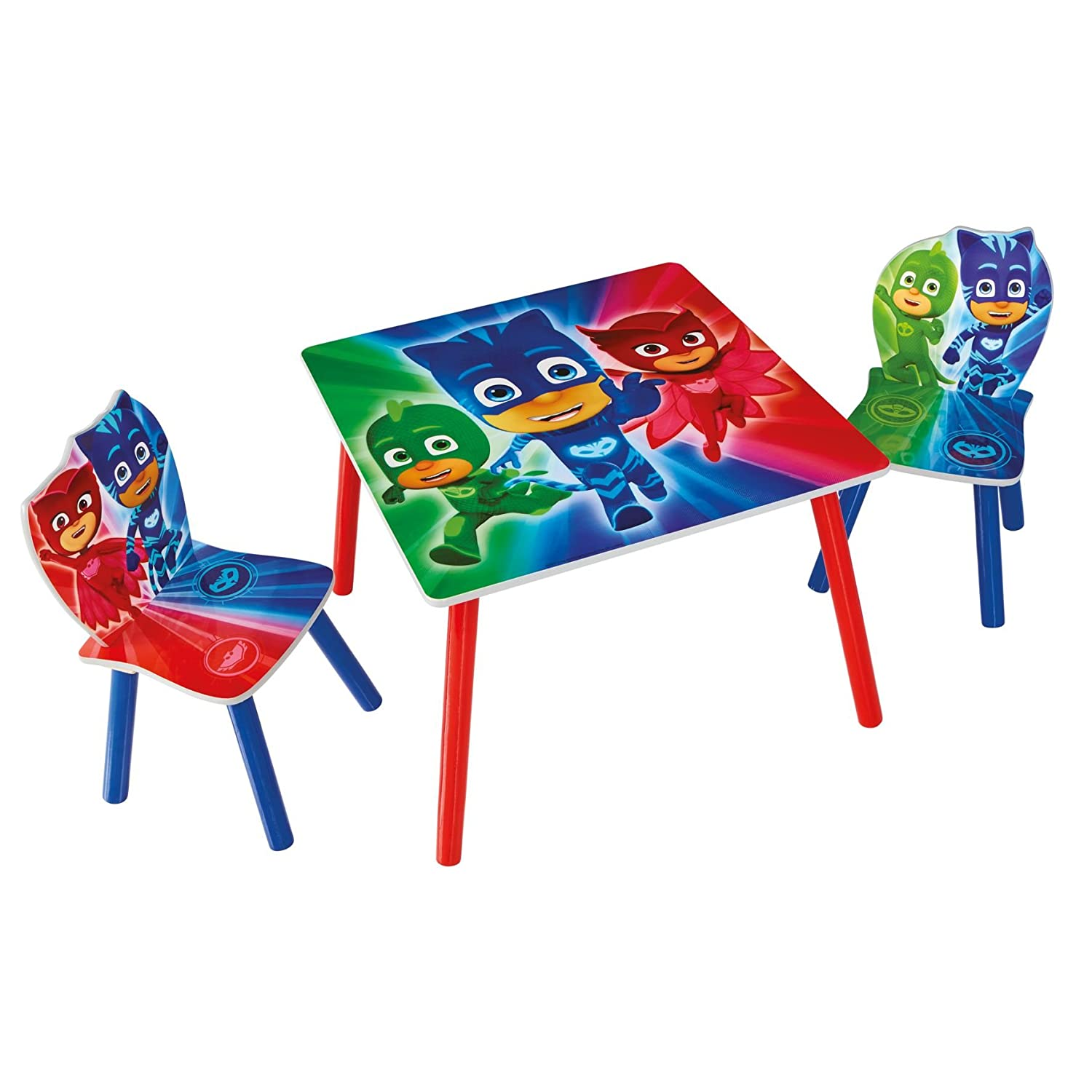 HelloHome Pj Masks Kids Table And 2 Chairs Set, Wood, Multicoloured Worlds Apart 527PJM