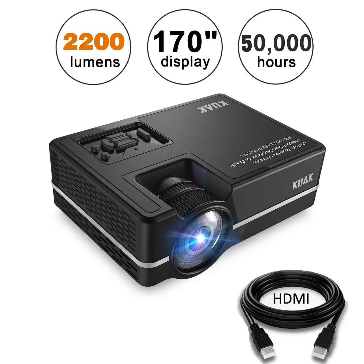Projector, KUAK Mini Projector 2200 Lumens 170'' Display, Portable Multimedia Home Theater LED Video Projector Support HD 1080P HDMI VGA USB SD AV TV for Smartphone Laptop Fire TV Stick etc,HT30&Silver by KUAK