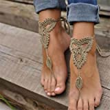 RONGXINUK 1 Pair Ornate Barefoot Sandals Beach Wedding Bridal Knit Anklet Foot Chain Khaki