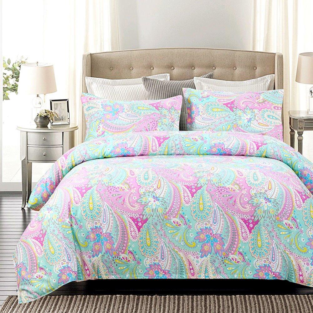 JUWENIN Bedding Pink Girls Floral Pattern Duvet Cover Set 3 Pieces (Queen, HFJR)