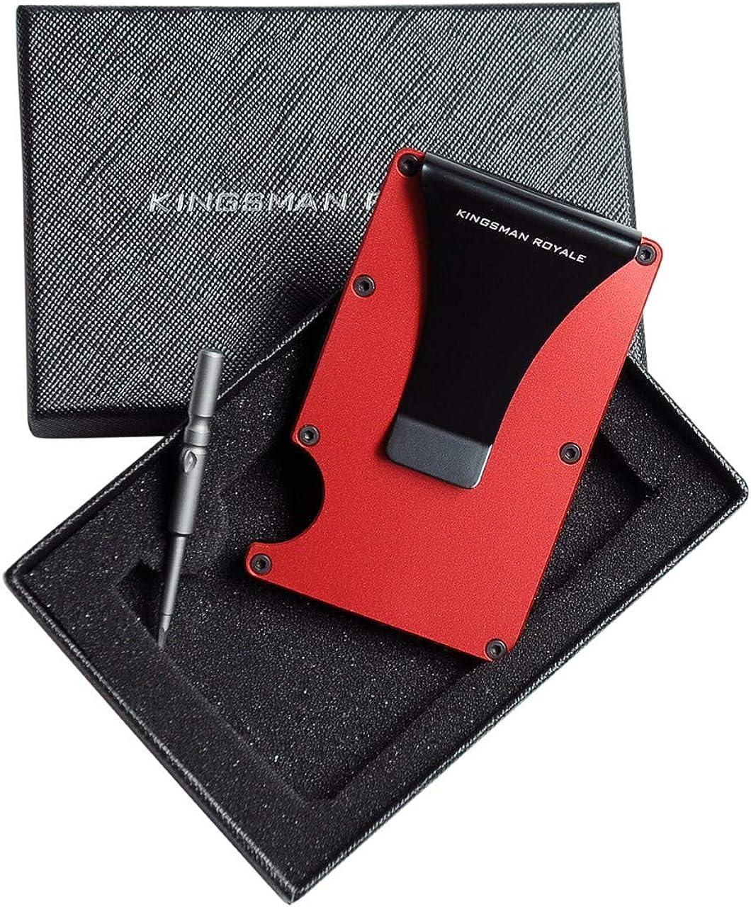 Minimalist Carbon Fiber Aluminum Slim Rfid Front Pocket Wallets with Money Clip by Kingsman Royale