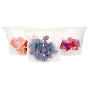 Silicone Slide n' Save - (1 Liter) Clear Reusable Food Saver Storage Bags - Eco Friendly & BPA Free - Airtight & Leak Proof - Works for Produce, Freezer Food, Hot Cooking - (3 Pack) - ModFamily