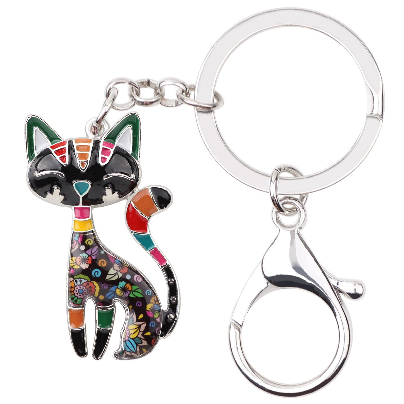 Bonsny Enamel Alloy Chain Cat Key Chains For Women Car Purse Handbag Charms (Grey)
